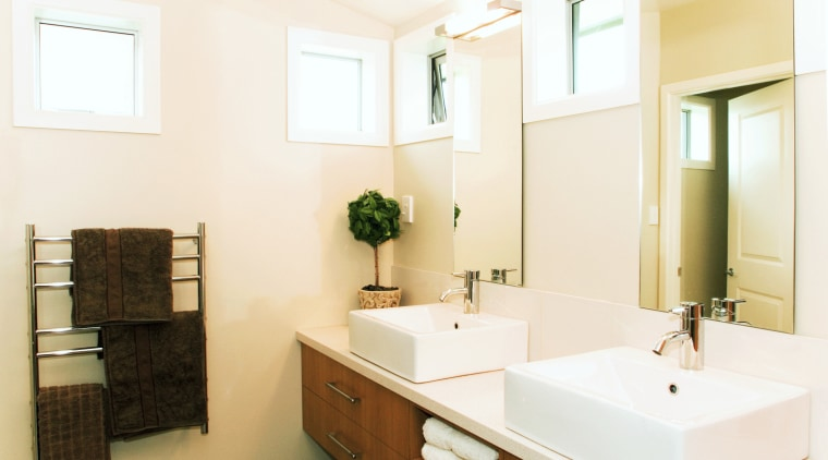 Contemporary bathroom with colours from Resene Parchment bathroom, bathroom accessory, home, interior design, product design, real estate, room, sink, white