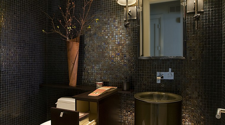 A clean-lined faucet complements the basin. bathroom, interior design, room, black