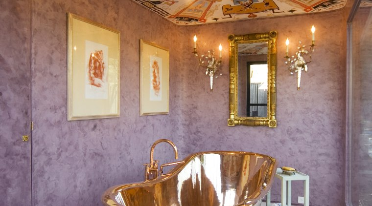 The interior of this bathroom was designed around bathroom, ceiling, home, interior design, room, wall