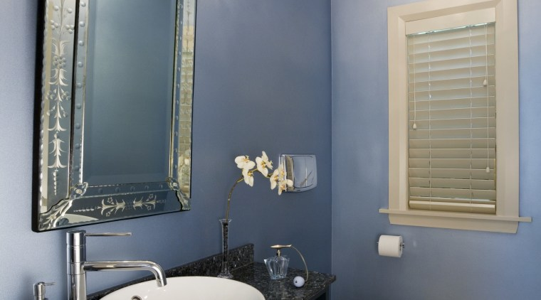 View of a powder room featuring blue painted bathroom, ceiling, home, interior design, room, sink, wall, gray