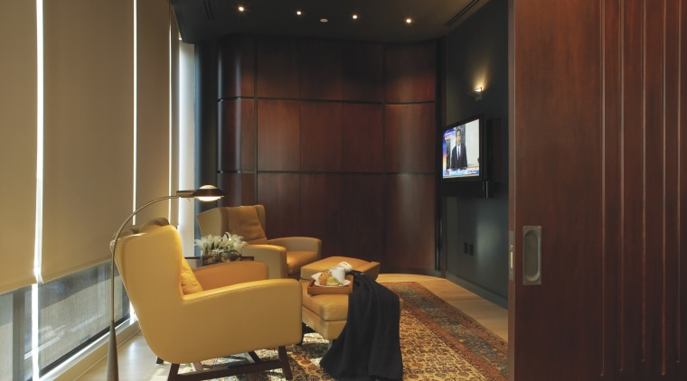 Contemporary lounge with Sivoia blind system architecture, ceiling, furniture, home, interior design, lobby, room, wall, brown, red