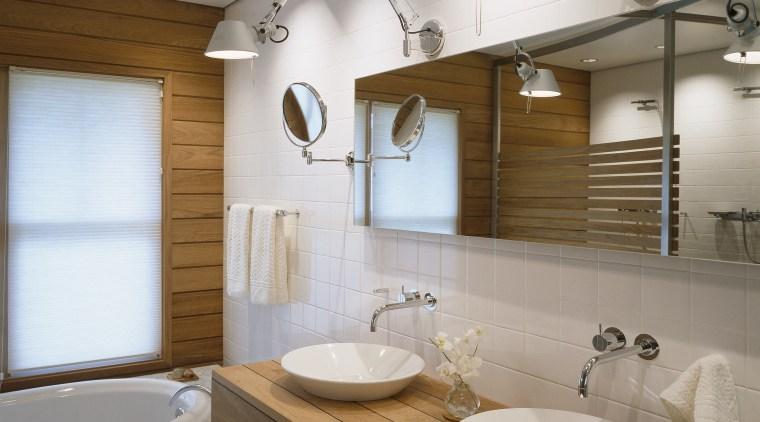 View of bathroom featuring custom teak and embonized bathroom, home, interior design, room, sink, gray, brown