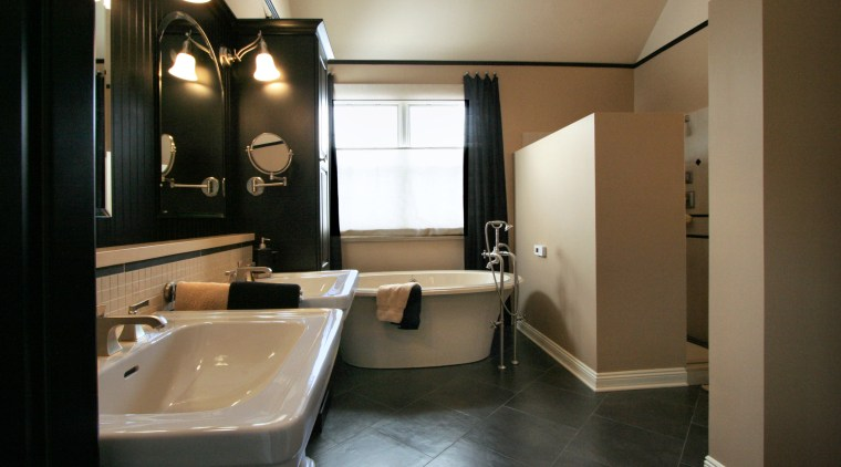 View of bathroom designed by Insignia Kitchen and bathroom, ceiling, floor, interior design, property, room, brown, black