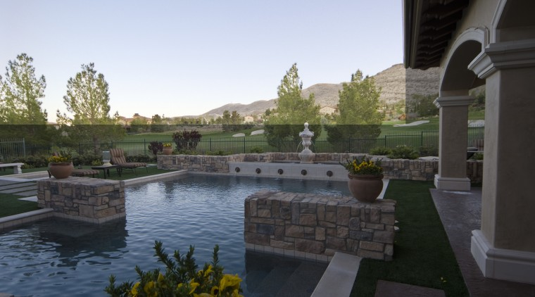 Poolscapes Exterior back yard backyard, estate, home, landscape, landscaping, outdoor structure, patio, property, real estate, reflecting pool, swimming pool, water, water feature, black, white