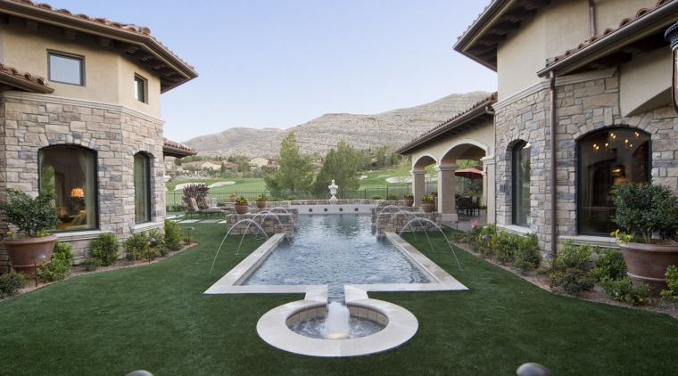 Attanasio Landscape Grass Pool backyard, courtyard, estate, hacienda, home, house, landscaping, mansion, property, real estate, swimming pool, villa, green, gray