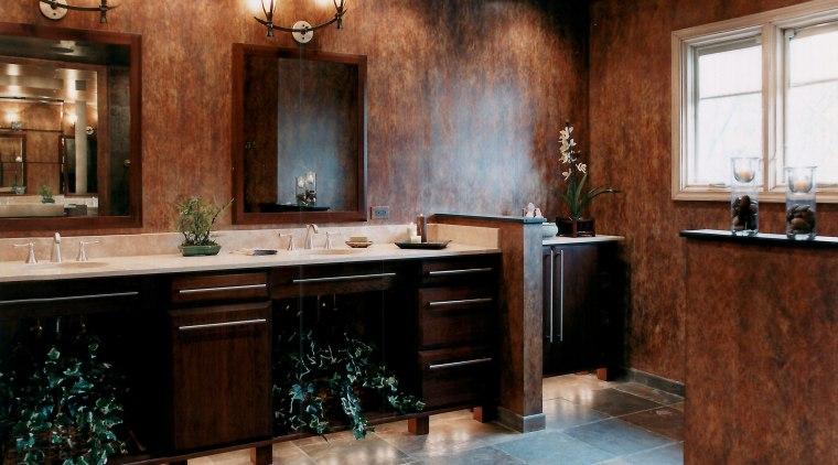 View of a remodeled bathroom which was designed bathroom, cabinetry, ceiling, countertop, flooring, home, interior design, kitchen, room, red