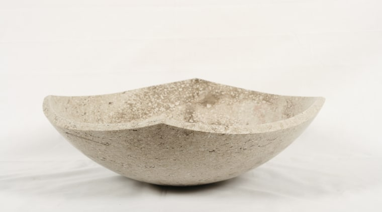 View of custom-designed stone vessel sinks crafted from bowl, ceramic, product design, tableware, white