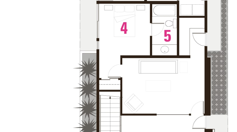 1 entrance, 2 patio, 3 rumpus, 4 bedroom, architecture, design, floor plan, plan, product, product design, structure, white