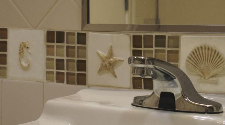 view of custom-glazed handmade seashell tiles by Timeless countertop, floor, flooring, interior design, product design, room, sink, tap, tile, brown, gray