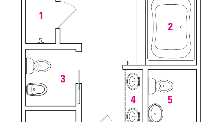 1 shower, 2 jacuzzi, 3 toilet and bidet, angle, area, design, diagram, drawing, font, furniture, line, pattern, product, product design, text, white, white