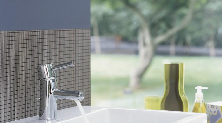Grohe precision tapware makes an appropriate companion for bathroom, bathtub, ceramic, interior design, plumbing fixture, product design, sink, tap, gray, green