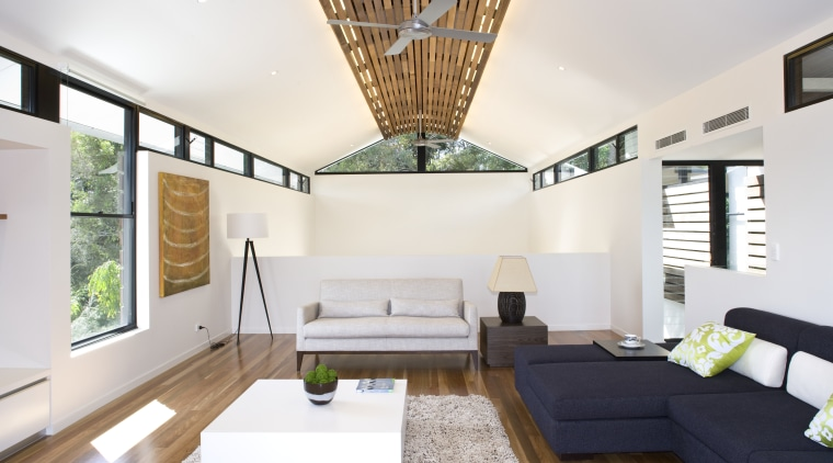 Modern lounge area with clerestory windows and vaulted architecture, ceiling, daylighting, house, interior design, interior designer, living room, real estate, white