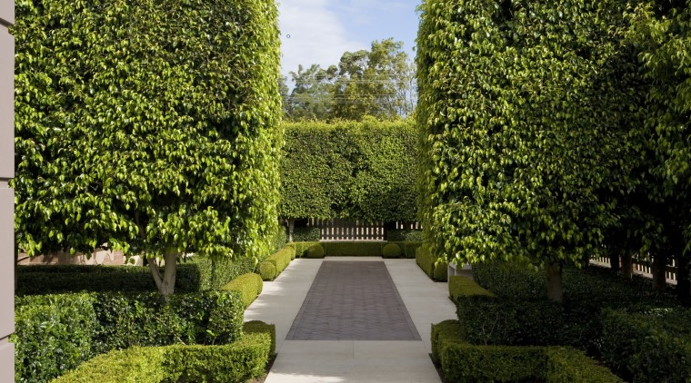 The three layers of hedging surround a series botanical garden, courtyard, estate, garden, grass, hedge, landscape, landscaping, lawn, leaf, plant, real estate, shrub, tree, vegetation, walkway, brown