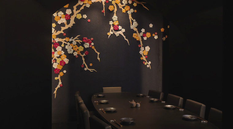 This private dining room has a sake theme, darkness, interior design, light fixture, lighting, still life photography, black