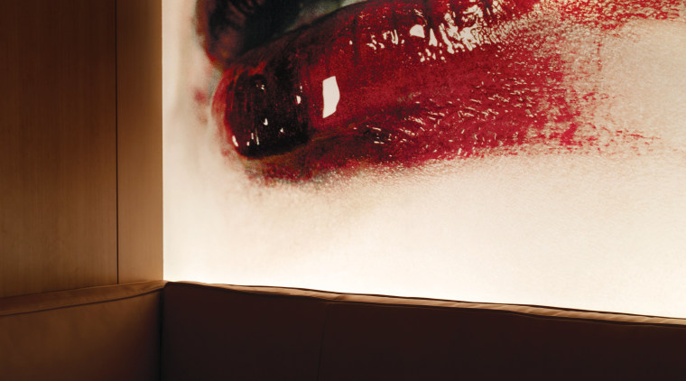 Oversized prints of Geisha lips and eyes lend design, interior design, red