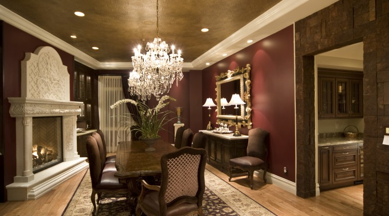 View of Home Theater where HP Media Group ceiling, dining room, home, interior design, living room, lobby, room, brown