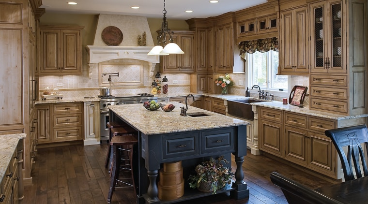 View of a kitchen designed by Drury Design cabinetry, countertop, cuisine classique, floor, flooring, hardwood, interior design, kitchen, room, wood, wood flooring, brown