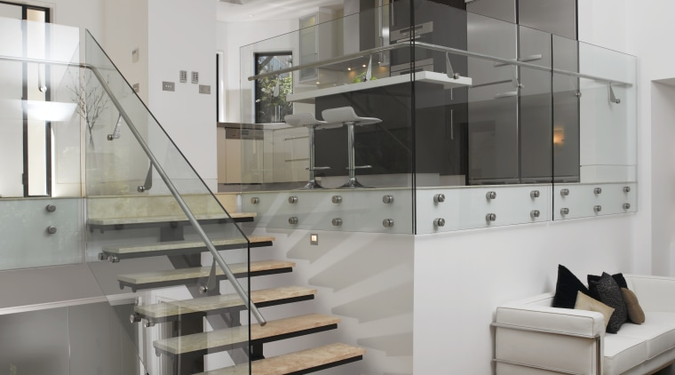Villas in the new Waterfall Estate in Mosman, countertop, interior design, kitchen, product design, stairs, gray
