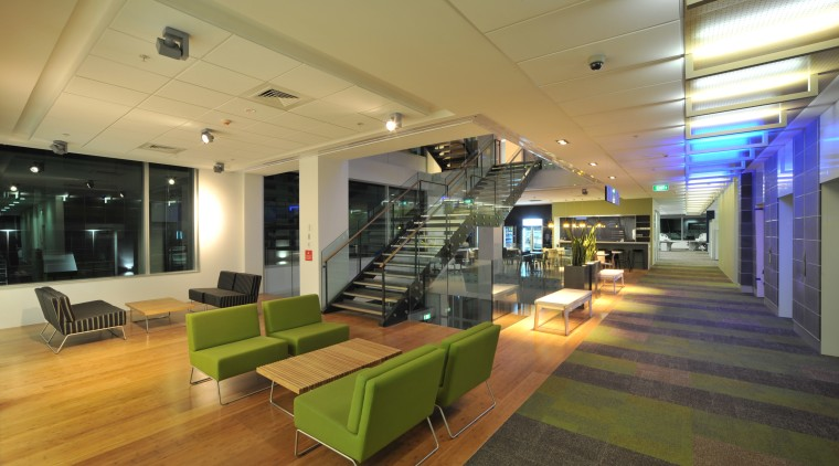The BNZ has many waiting rooms located around architecture, ceiling, interior design, lobby, office, real estate, brown