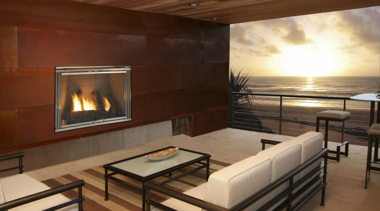 View of an outdoor fireplace supplied by The ceiling, fireplace, floor, flooring, interior design, living room, real estate, room, wood, brown