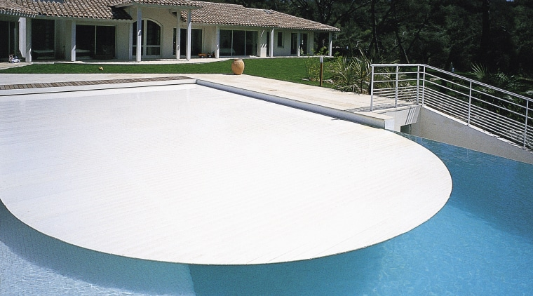 Image of a pool which features a pool composite material, estate, house, leisure, property, real estate, swimming pool, water, water resources, white, teal