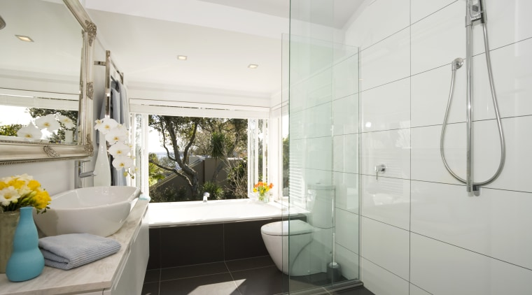 View of the contemporary bathroom showing the toilet, bathroom, home, interior design, property, real estate, room, white