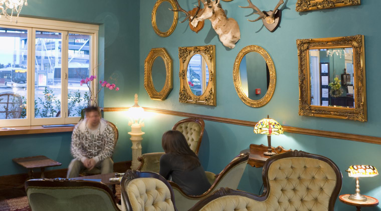 Furniture from yesteryear, mounted animal heads and mirrors blue, ceiling, chair, couch, furniture, home, house, interior design, living room, room, table, wall, window, teal