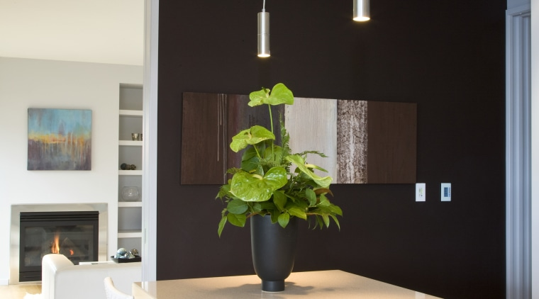 Resene Livid Brown and Resene Midwinter Mist feature ceiling, dining room, home, house, interior design, light fixture, room, table, gray