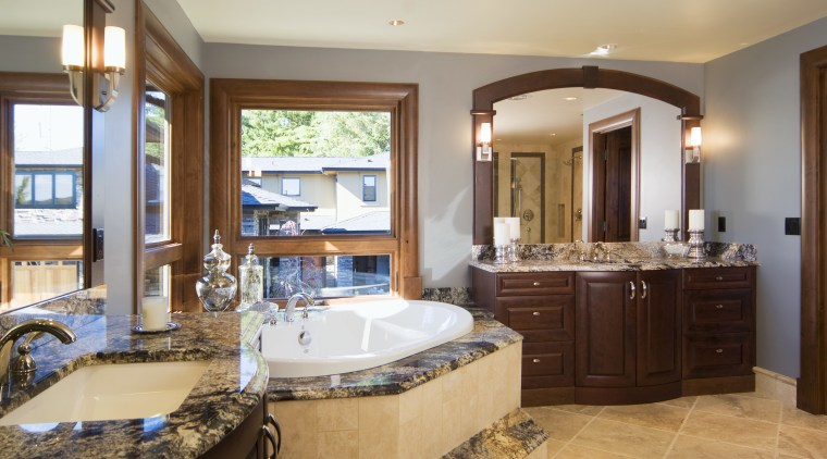 Pacific Crest Industries design and manufacture custom cabinetry bathroom, countertop, estate, home, interior design, real estate, room, window, brown, gray