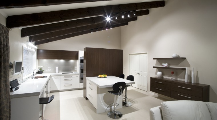 view of a kitchen which was designed by interior design, gray, black