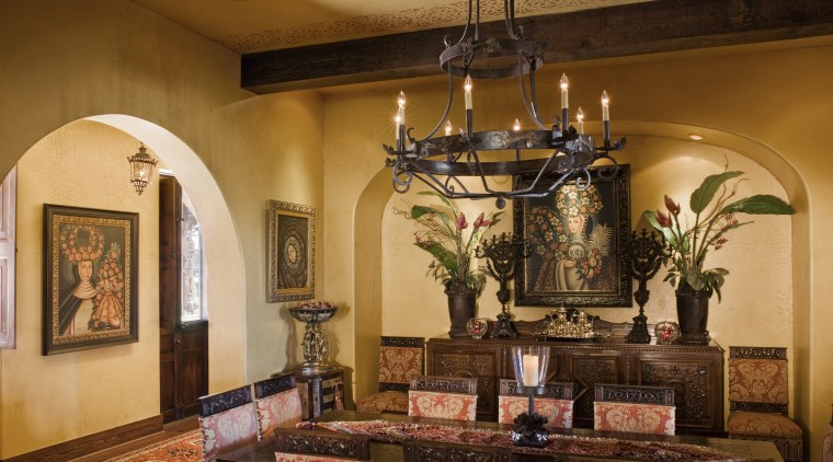 Image of the dining room which has been ceiling, chapel, estate, furniture, hacienda, home, interior design, living room, room, brown, orange