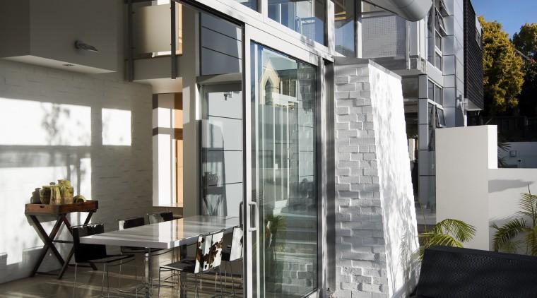View of sliding doors from Able Aluminium. architecture, building, condominium, daylighting, facade, home, house, interior design, real estate, window, black, gray