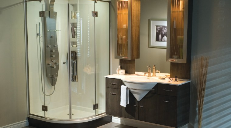 Image of a bathroom which features an integrated bathroom, bathroom accessory, bathroom cabinet, plumbing fixture, room, brown, black