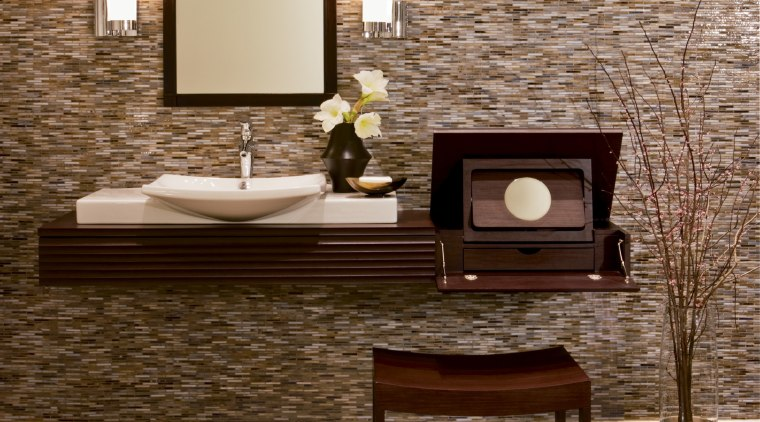 Image of high-end bathroom products available at The coffee table, floor, flooring, furniture, hardwood, interior design, laminate flooring, living room, table, tile, wall, wood, wood flooring, brown, orange
