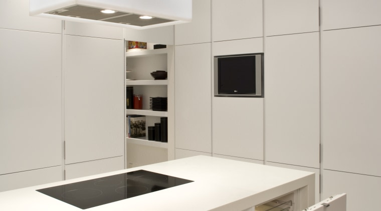 View of a kitchen designed by Shane George countertop, interior design, kitchen, product design, gray