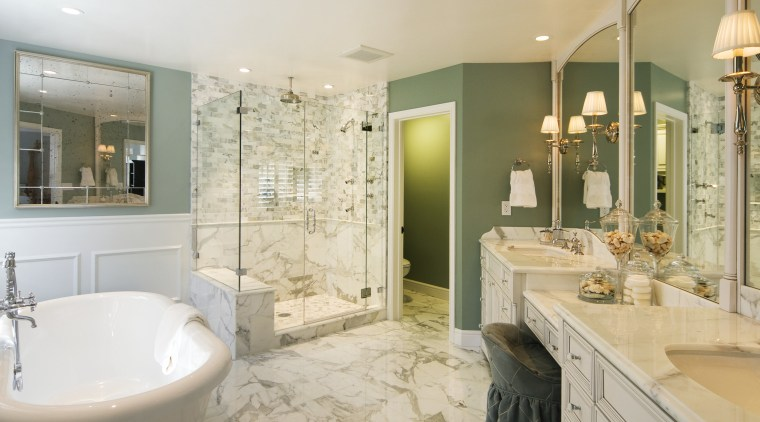 View of upscale, luxurious bathroom which features a bathroom, estate, home, interior design, real estate, room, gray