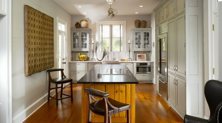 View of a remodelled kitchen in this 1832 cabinetry, ceiling, countertop, dining room, floor, flooring, hardwood, home, interior design, kitchen, living room, real estate, room, wall, window, wood flooring, gray, brown