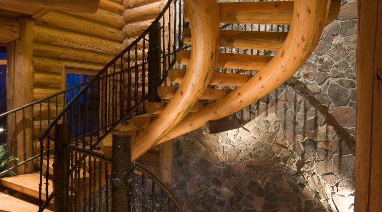 Images of a stairway featuring railing which has architecture, baluster, beam, handrail, home, interior design, lighting, log cabin, stairs, wood, brown