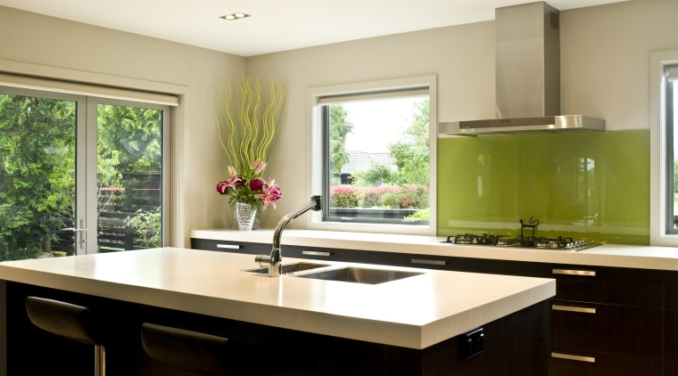 Image of a kitchen which features joinery by countertop, interior design, kitchen, real estate, room, window, white