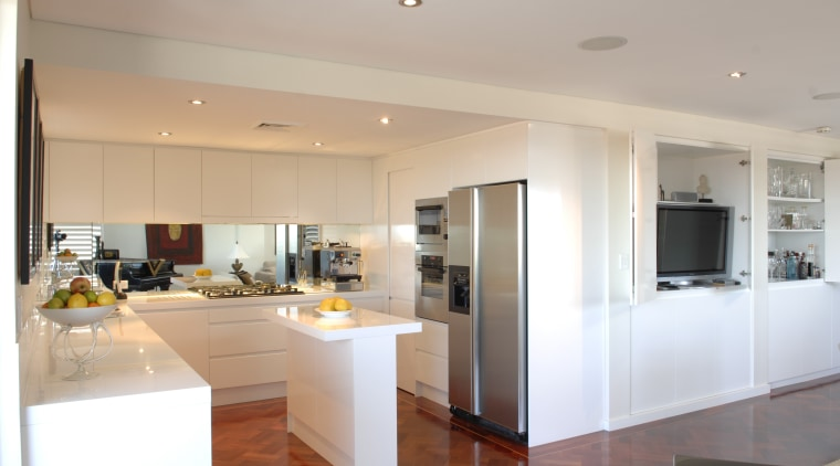 View of a penthouse kitchen which was designed countertop, interior design, kitchen, real estate, gray