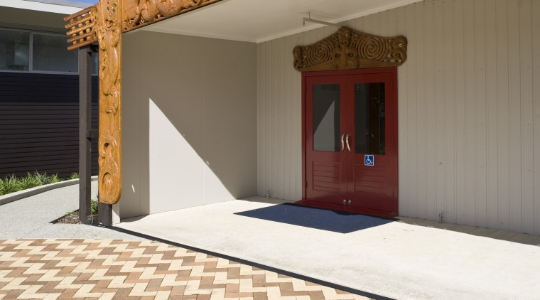 Image of paving completed by P and M estate, facade, floor, home, outdoor structure, property, real estate, roof, sky, orange