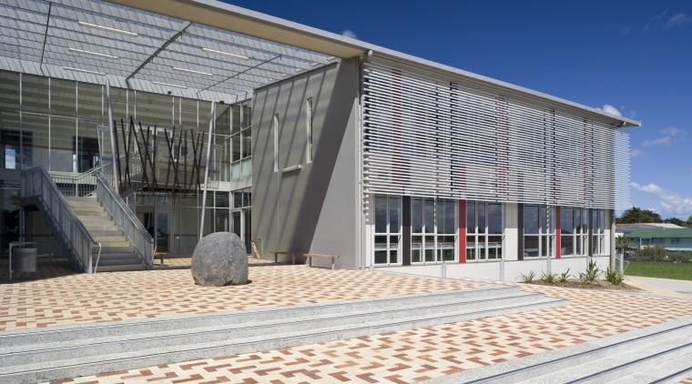 Images of the te Whanua o Tupuranga school architecture, building, corporate headquarters, daylighting, facade, house, real estate, structure, window, gray