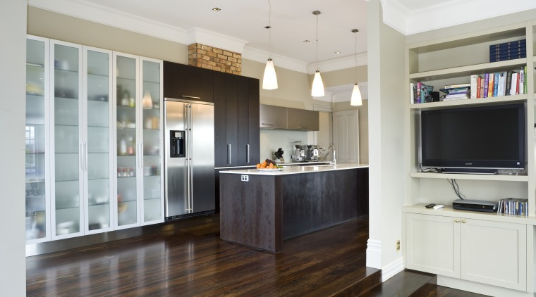 View of a renovated kitchen with granite benchtops, cabinetry, countertop, cuisine classique, floor, flooring, hardwood, interior design, kitchen, real estate, room, wood flooring, gray, white