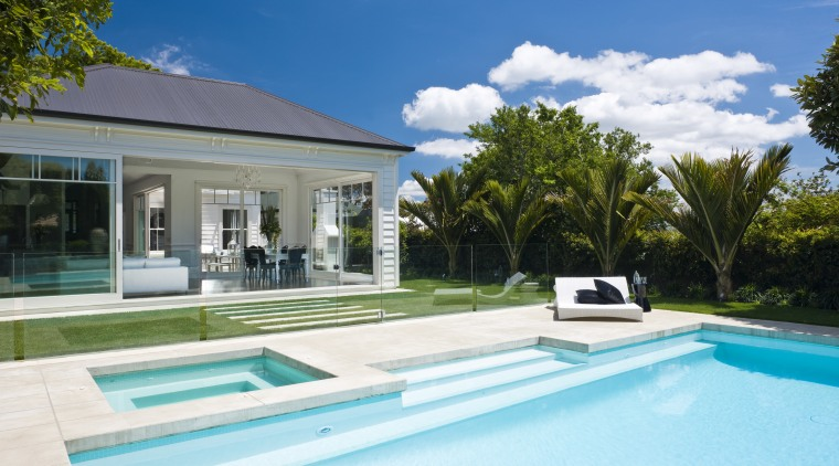 Exterior view of the rear of the house estate, home, house, leisure, property, real estate, residential area, swimming pool, villa, teal