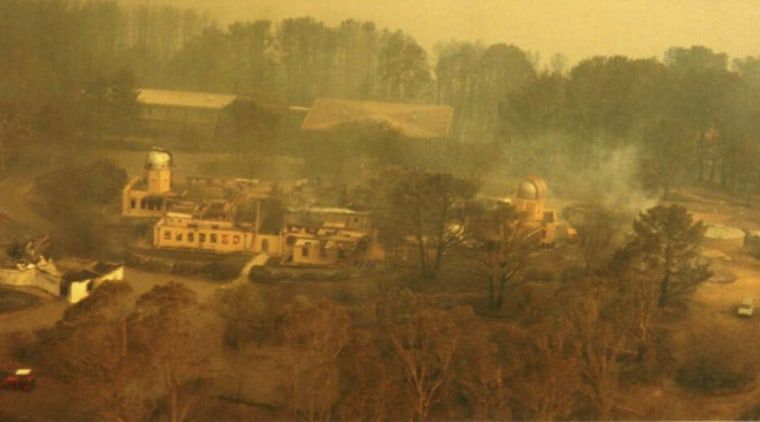View of the observatory prior to renovations after ecoregion, geological phenomenon, landscape, painting, rural area, wildfire, brown