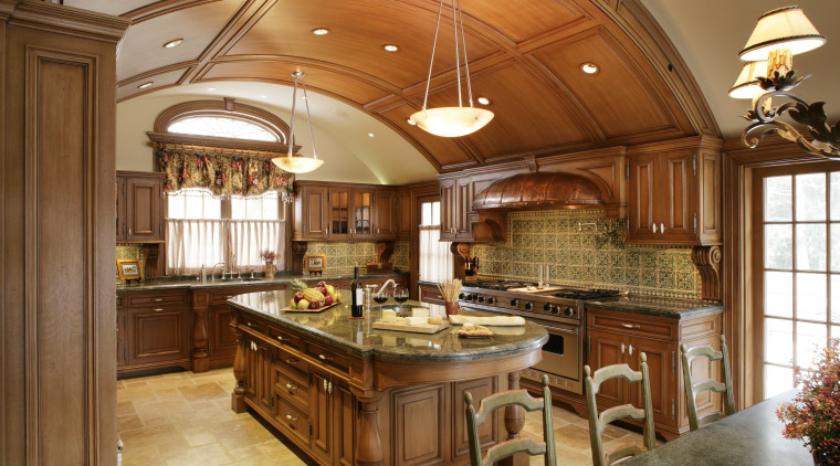 view of a renovated kitchen with a classical cabinetry, ceiling, countertop, cuisine classique, estate, flooring, hardwood, interior design, kitchen, room, brown
