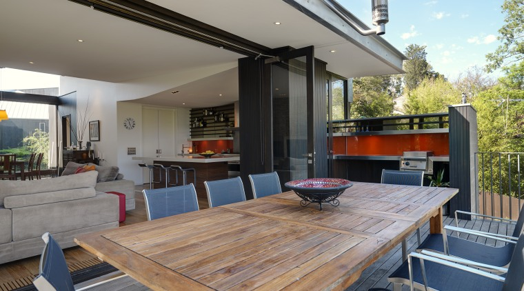 View of the outdoor entertaining area which features house, interior design, patio, real estate, gray
