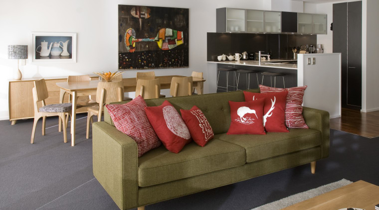 View of the open-plan living and dining area couch, furniture, home, interior design, living room, room, table
