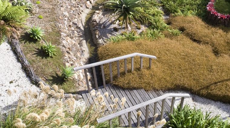 View of a landscaped garden which features a botanical garden, flower, garden, grass, grass family, landscape, landscaping, plant, vegetation, walkway, water, watercourse, yard, brown