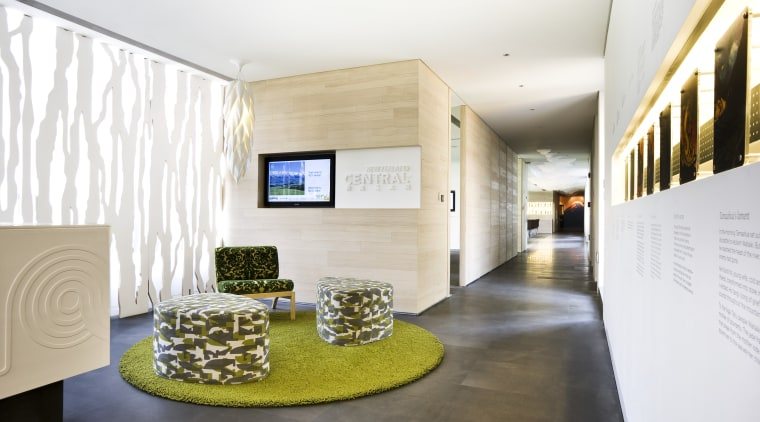 View of an office area which features NZ architecture, ceiling, exhibition, interior design, lobby, white